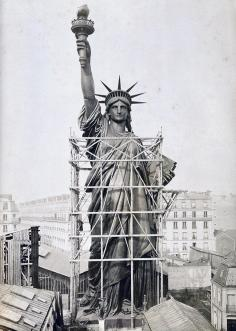 Statue of Liberty towers over Paris rooftops in 1884, outside Bartholdi's workshop